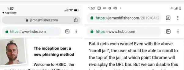 Inception Bar: A new type of phishing attack